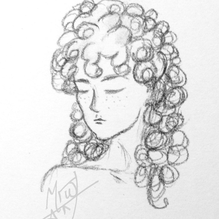 Curly Hair Portrait Drawing