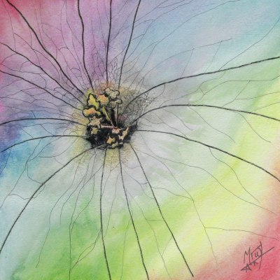 Watercolour Rainbow Flower
